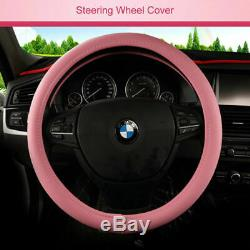 US Cute Girl Car Seat Covers Pink PU Leather Universal Fits 5-Sits SUV Cushion