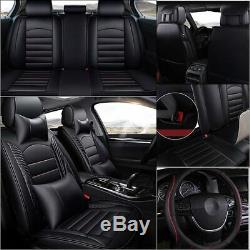 Universal 3D Black Car Top Leather Seat Cover with Steering Wheel Cover Full Set