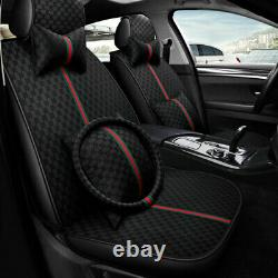 Universal 5-Seats Car Seat Cover Full Set Front Rear withSteering Wheel + Cushions