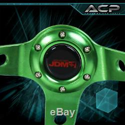 Universal 6 Bolt 350mm Black Green Steering Wheel Deep Dish Leather Jdm Euro