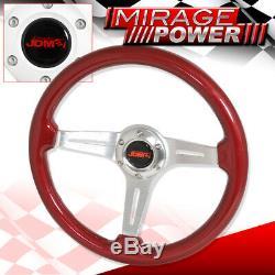 Universal 6 Hole Bolt 3 Spoke Steering Wheel Aluminum Streak Red Wood Grain Jdm