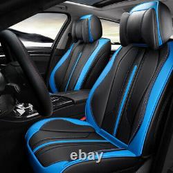 Universal Leather Car Seat Cover Set+Steering Wheel Cover 5-Seats Auto Protector