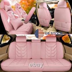 Universal Pink Plush Car Seat Covers Set with Steering Wheel Cover For 5-Seats Car