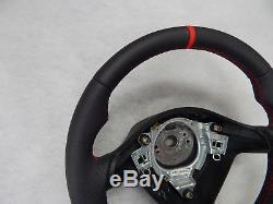 VW Golf IV Seat Leon MK1 Toledo Fabia steering wheel leather sport flat red ring
