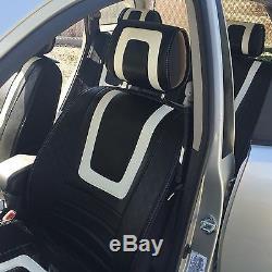 White+Carbon Fiber Seat Cover Shift Knob Steering Wheel PVC Leather Sedan 34011d