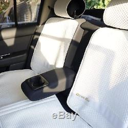 White Seat Belt Cover Steering Wheel Shift Knob Front & Back Car Seat Cover Set