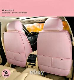 Winter 5 Seats Auto Car Seat Cover Cushions+Steering Wheel Cover Plush Fur Pink