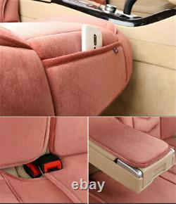 Winter Plush Car Seat Warm Pad & Steering Wheel Cover Full Set Universal Red USA