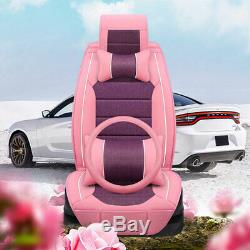 Women Pink PU Leather Car Seat Cover 5-Seats Protector Universal Front+Rear Set