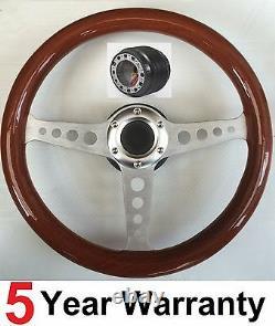 Wooden Wood Rim Classic 3 Spoke 350mm Steering Wheel And Boss Kit Hub